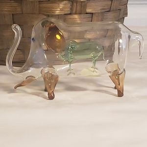 RARE! Vintage Glass Elephant with Baby
